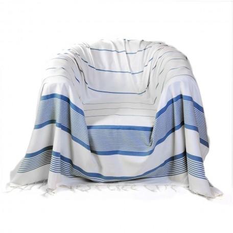 Jeté de fauteuil en coton blanc et rayures bleues C1
