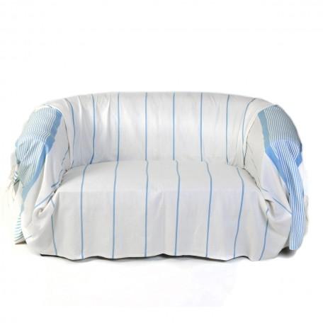 Jeté de canapé en coton blanc et rayures bleues   C1