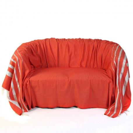 Jeté de canapé rouge en coton et rayures fil lurex argent IS1
