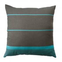 Taie d'oreiller fond gris et rayures turquoises - C4