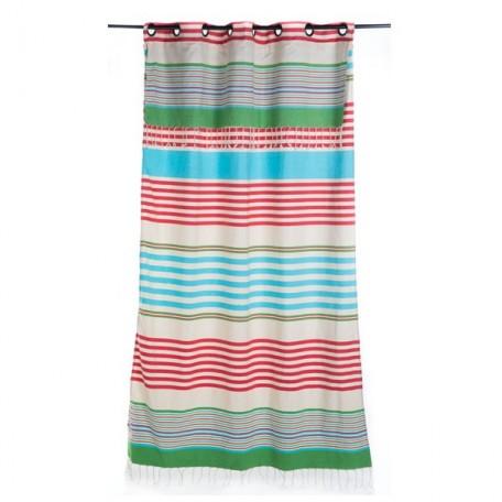 Rideau modulable en hauteur et prêt à poser, rayures bleues, vertes et rouges sur fond blanc.- A5