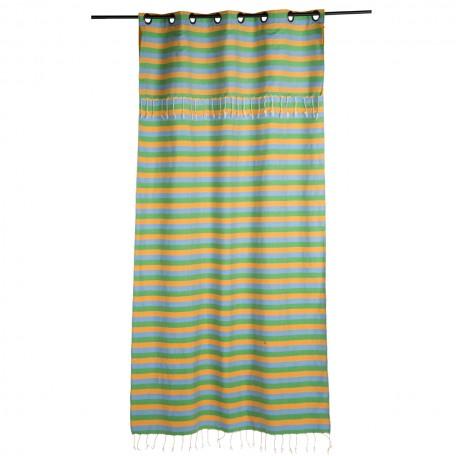 Rideau en coton tri-bandes jaune, bleu et vert avec hauteur ajustable - D2