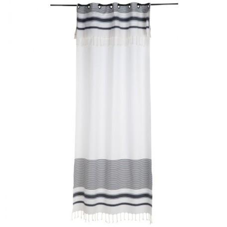 Rideau hauteur ajustable blanc et rayures bleu marine 100% coton - M2