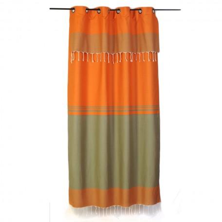 Rideau vert amande et orange à rayures, ajustable en hauteur et prêt à poser – T4