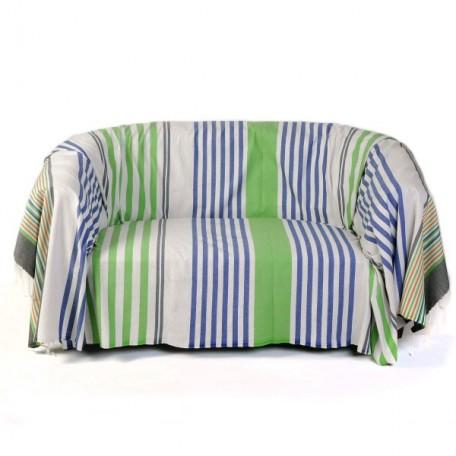 Jeté de canapé rectangulaire en coton fond gris bleuté à rayures - A3