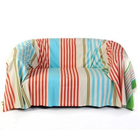 Jeté rectangulaire de canapé 2x3m fond blanc et rayures multicolores - A5