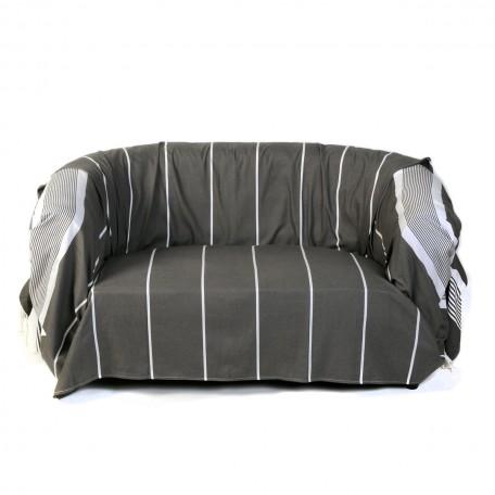 Jeté de canapé rectangulaire en coton fond gris anthracite et rayures blanches – C3