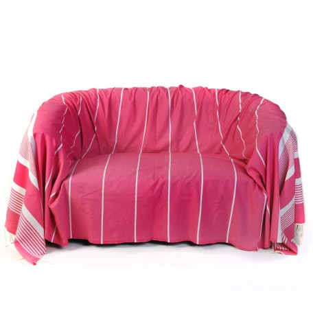 Jeté de canapé en coton 2 x 3 m fond fushia et rayures blanches - CB2