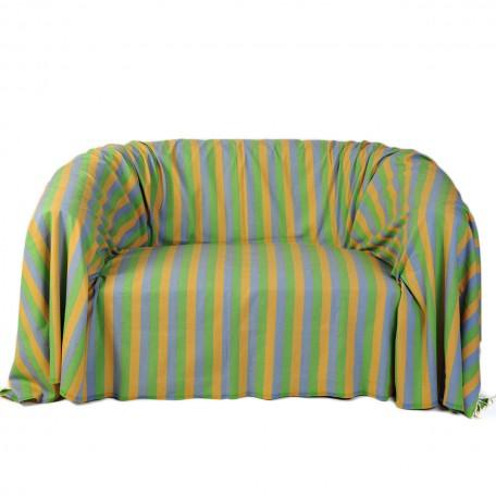 Jeté de canapé en coton 2x3m, motif tri-bandes jaune, bleu et vert  - D2