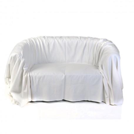 Jeté de canapé tout uni blanc-écru en coton, 2x3m – F2