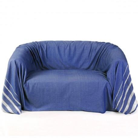 Jeté de canapé 2x3m, bleu et rayures en fil lurex argent -  IS3