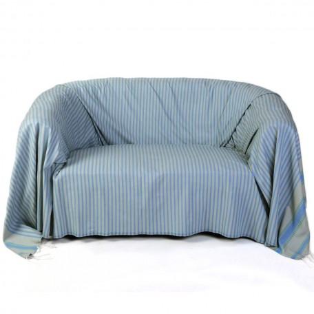 Jeté de canapé rectangulaire  fond gris perle avec des rayures bleues et vert émeraude - M1