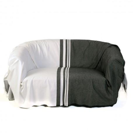 Jeté de canapé rectangulaire en coton, noir et blanc avec différentes tailles de rayures – T1