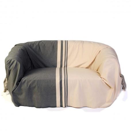 Jeté de canapé 100% coton 2 x 3m, motif inversé en écru et taupe avec différentes tailles de rayures - T2