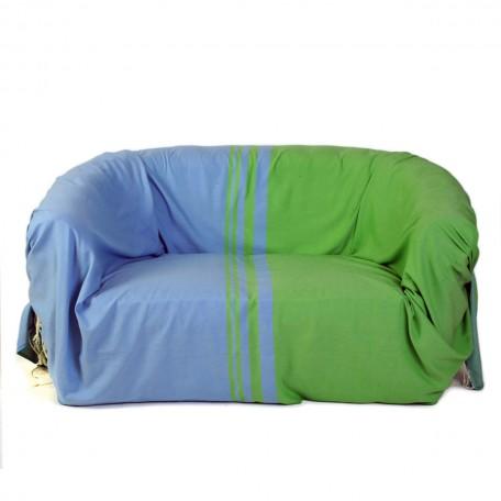 Jeté de canapé en coton 2x3m motif bleu et vert - T3