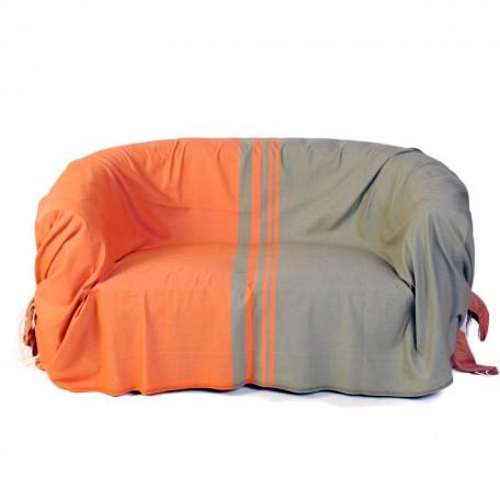 Jeté de canapé rectangulaire en coton orange et vert amande - T4