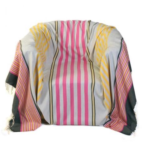 Jeté de fauteuil en coton, fond gris et rayures fushia, jaune, orange et gris anthracite - A1
