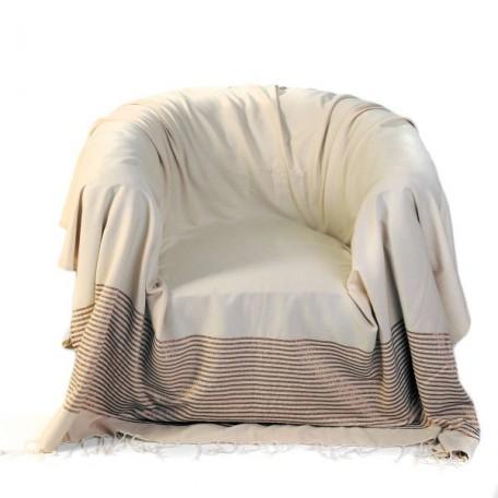 Jeté de fauteuil 2x2m fond écru et rayures en lurex bronze - B2