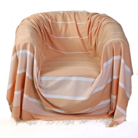 Jeté de fauteuil carré fond saumon et rayures blanches 100% coton – C2