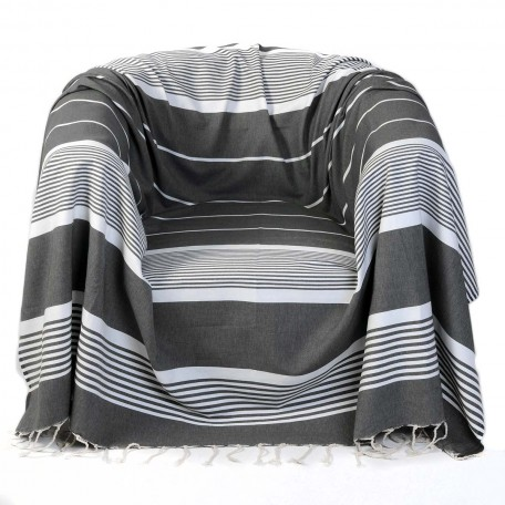 Jeté de fauteuil 2x2m en coton, gris anthracite et rayures blanches – C3