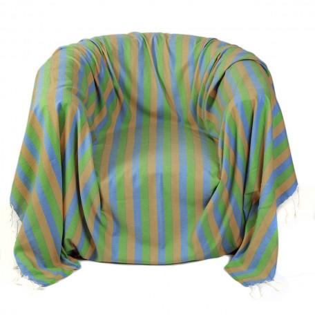 Jeté de fauteuil motif tri-bandes jaune, bleu et vert en coton, 2x2m - D2