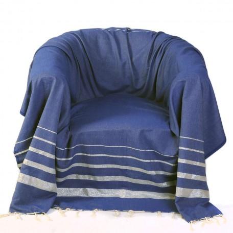 Jeté de fauteuil carré 2x2m, fond bleu et rayures en fil lurex argent – IS3