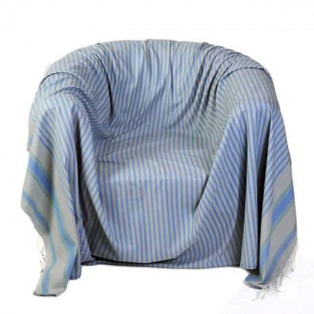 Jeté de fauteuil carré en coton fond gris perle et rayures bleu doux et vert émeraude – M1