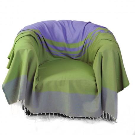 Jeté de fauteuil en coton, 2x2m motif bleu et vert avec différentes tailles de rayures - T3