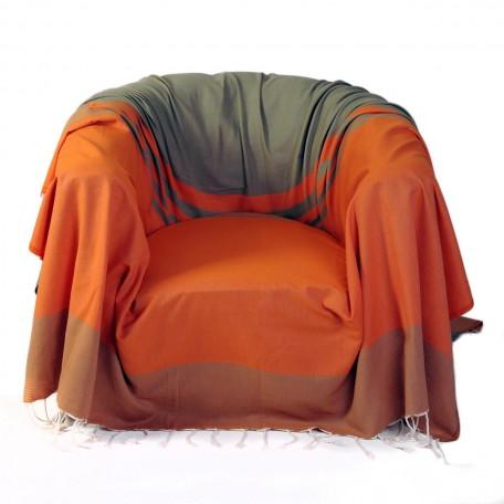 Jeté de fauteuil carré 2x2m en coton, orange et vert amande - T4