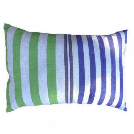Housse de coussin 35x50cm fond gris bleuté et rayures bleues, vertes et oranges, en coton - A3