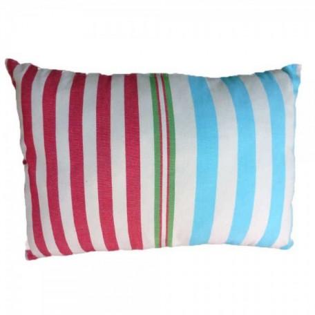 Housse de coussin rectangulaire 100% coton, fond écru et rayures vertes, rouges, turquoises et oranges - A5
