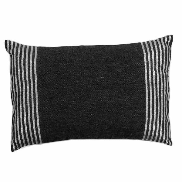 Housse de coussin en coton et lurex 35 x 50cm fond noir avec des rayures en fil lurex argent b1 - Housse coussin rectangulaire ...