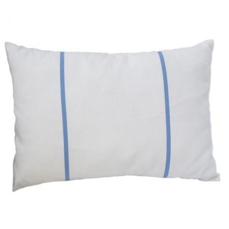Housse de coussin blanche et rayures bleu doux 35 x 50 cm en coton - C1