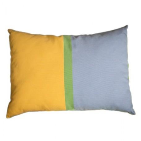 Housse de coussin 35x50cm en coton tri-bandes Jaune, bleu et vert  - D2