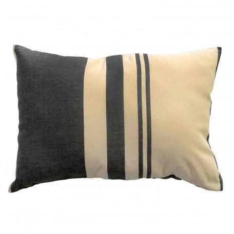 Coussin rectangulaire 100% coton ecru et taupe, 35x50cm,T2