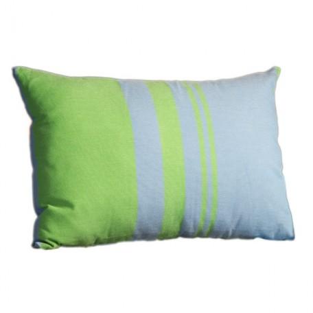 Housse de coussin rectangulaire en coton motif inversé bleu et vert à rayures - T3