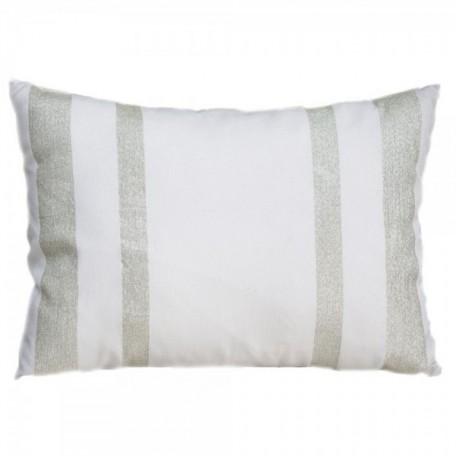 Housse de coussin 35x50cm, blanche avec rayures en fil lurex argent - IS2