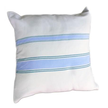 Housse de coussin 40x40cm, 100% coton fond gris perle et rayures bleu doux et vert émeraude - M1