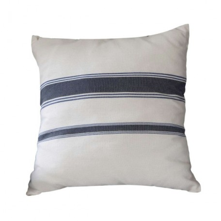 Housse de coussin carrée blanche et rayures bleues en coton - M2