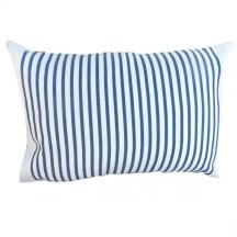 Coussin rectangulaire 35x50cm, blanc et rayures bleues en coton - M2