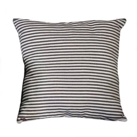 Housse de coussin carrée 100% coton motif inversé noir et blanc à rayures - T1