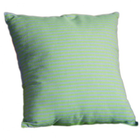 Housse de coussin carrée en coton motif inversé bleu et vert à rayures - T3