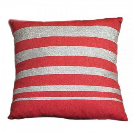 Housse de coussin carrée rouge et rayures en fil lurex argent - IS1