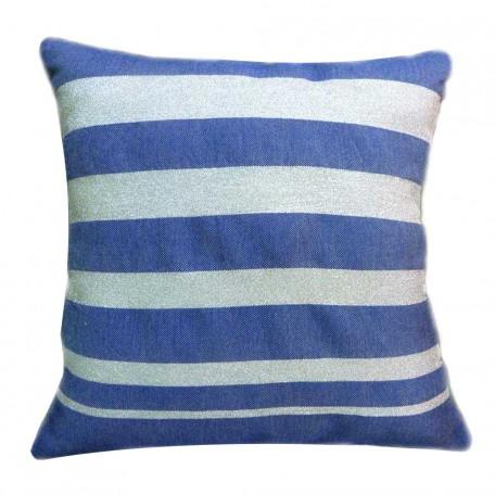 Housse de coussin carrée fond bleu roi avec rayures en fil lurex argent - IS3