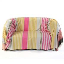 Jeté de canapé en coton 2x3m, fond gris et rayures fushia, jaunes, oranges et grises - A1