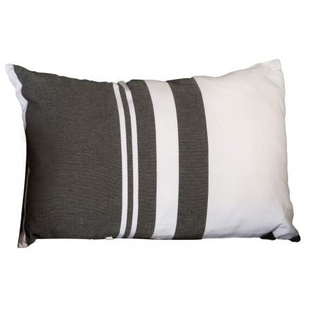 Coussin rectangulaire noir et blanc à rayures 100% coton - T1