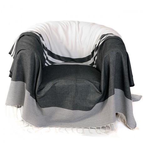 Jeté de fauteuil 2x2m, noir et blanc avec des rayures de différentes tailles, 100% coton - T1