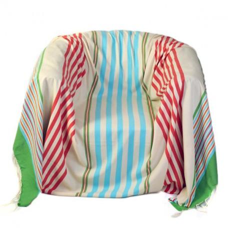 Jeté de fauteuil carré 2 x 2m fond blanc et rayures multicolores - A5