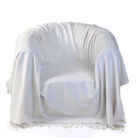 Jeté de fauteuil en coton 2 x 2m uni blanc écru avec reliefs discrets - F2