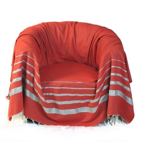 Jeté de fauteuil carré rouge avec des rayures fil lurex argent - IS1